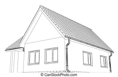 Vector sketch of the cottage with a roof