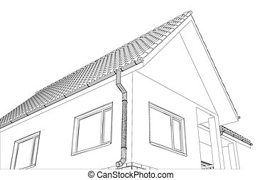 Vector sketch of the cottage with a roof.