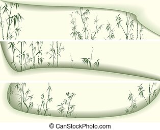 Banners abstract with bamboo trees. - Set horizontal green...