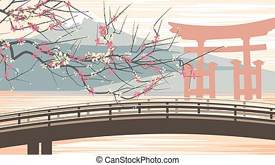 Illustration of cherry blossoms.