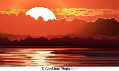 Red sunset and glare on water. - Vector horizontal...