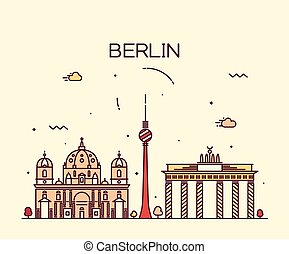 Berlin skyline trendy vector illustration linear - Berlin...