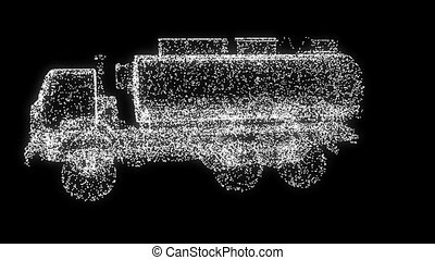 3D truck into SUV particles transformation Loopable over...
