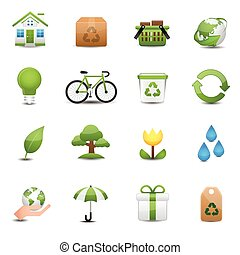 Green Ecology Icon Set - This is icons vector Illustration.