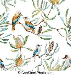 Australian kookaburra bird pattern - Beautiful vector...