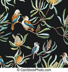 Australian kookaburra bird pattern - Beautiful vector...