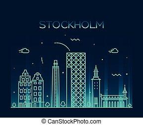 Stockholm skyline vector illustration linear - Stockholm...