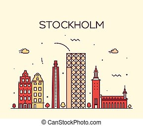 Stockholm skyline vector illustration linear
