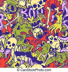 Seamless halloween pattern with horror elements - Color...