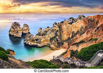 Sunrise at Camilo Beach, Lagos, Portugal