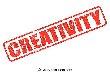 CREATIVITY red stamp text on white