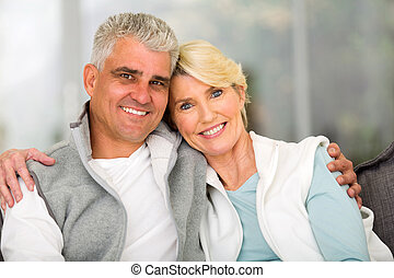 mature couple relaxing - portrait of happy mature couple...