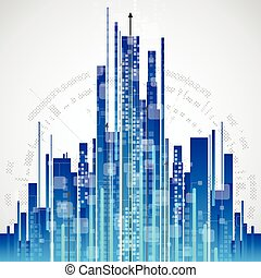 Abstract city communication technology background, vector