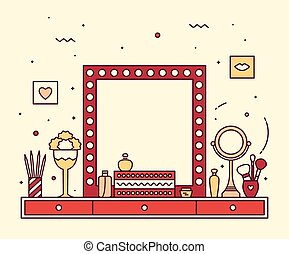 Makeup table vanity linear mirror dressing vector - Modern...