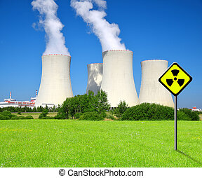 Nuclear power plant with radiation symbol