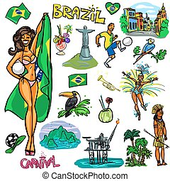 Travelling attractions - Brazil - Set of cartoon hand drawn...