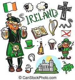 Travelling attractions - Ireland - Set of cartoon hand drawn...