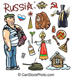 Travelling attractions - Russia - Set of cartoon hand drawn...