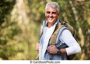 senior man on hike