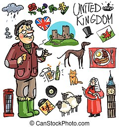 Travelling attractions - United Kingdom - Set of cartoon...