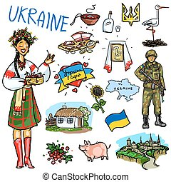 Travelling attractions - Ukraine - Set of cartoon hand drawn...
