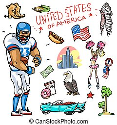 Travelling attractions - United States - Set of cartoon hand...