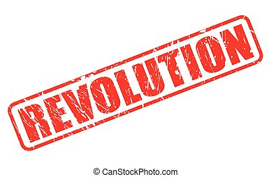 REVOLUTION red stamp text on white