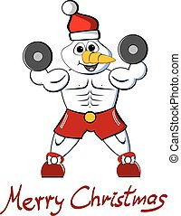 Muscle snowman Merry Christmas - Illustration of an athletic...