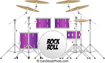 Drum Kit - Big modern drum kit with tom, snare, bass and...