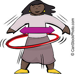 Girl Using Hula Hoop - Isolated cute girl using a red hula...