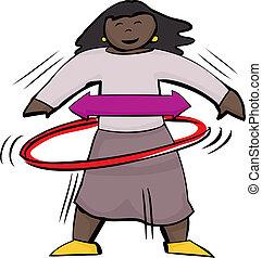 Girl Using Hula Hoop - Isolated cute girl using a red hula...