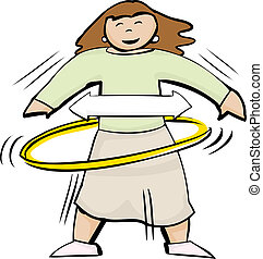Female Using Hula Hoop - Cartoon symbol of an active...