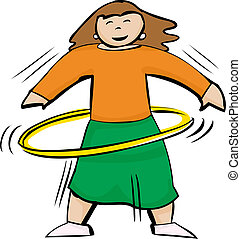 Fit Woman Using Yellow Hula Hoop - Fit and active woman...