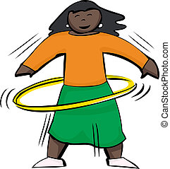 Happy Woman Using Yellow Hula Hoop - Happy woman using a...