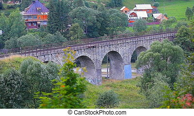 train rides on the old bridge viaduct