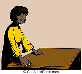 Single Black Woman at Table - Illustration of a pretty woman...
