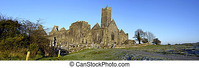 capture winter panoramic of ancient old irish abbey