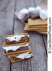 Homemade Smores with Marshmallows, Chocolate and Graham...
