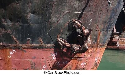 The closeup of the large anchor from the ferry boat - The...