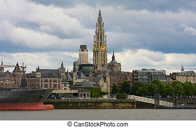 Skyline of Antwerp, Belgium - Skyline of Antwerp with the...