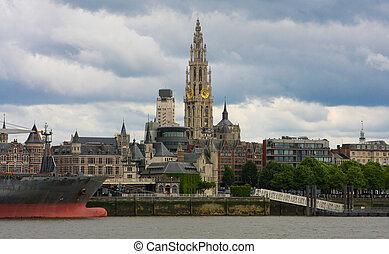 Skyline of Antwerp, Belgium - Skyline of Antwerp with the...