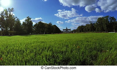 Main entrance to city park VDNH - Overflight camera to...