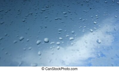 droplets of water on glass