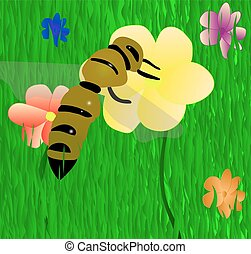 Bee On The Flower. Vector EPS 10.