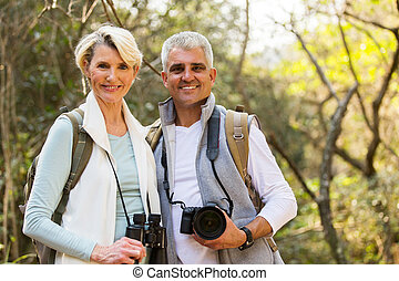 hikers couple enjoying outdoor activity