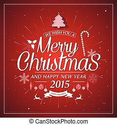 Christmas retro typography holidays wish greeting card design and vintage ornament decoration