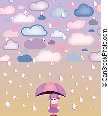 Cute girl under umbrella and rain. Vector Image