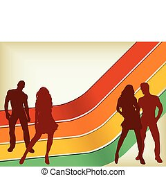 Retro Background with two couples silhouettes Editable...