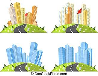 Vector cities skylines set
