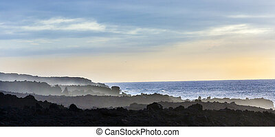 scenic coast landscape at Timanfaya National Park in...